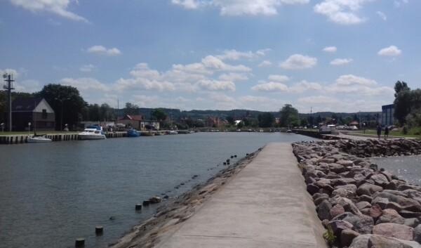 Pętla Żuławska, Tolkmicko, widok z portu na miasto